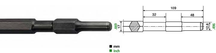 Chisels for pneumatic hammers 12.6 x 48 mm