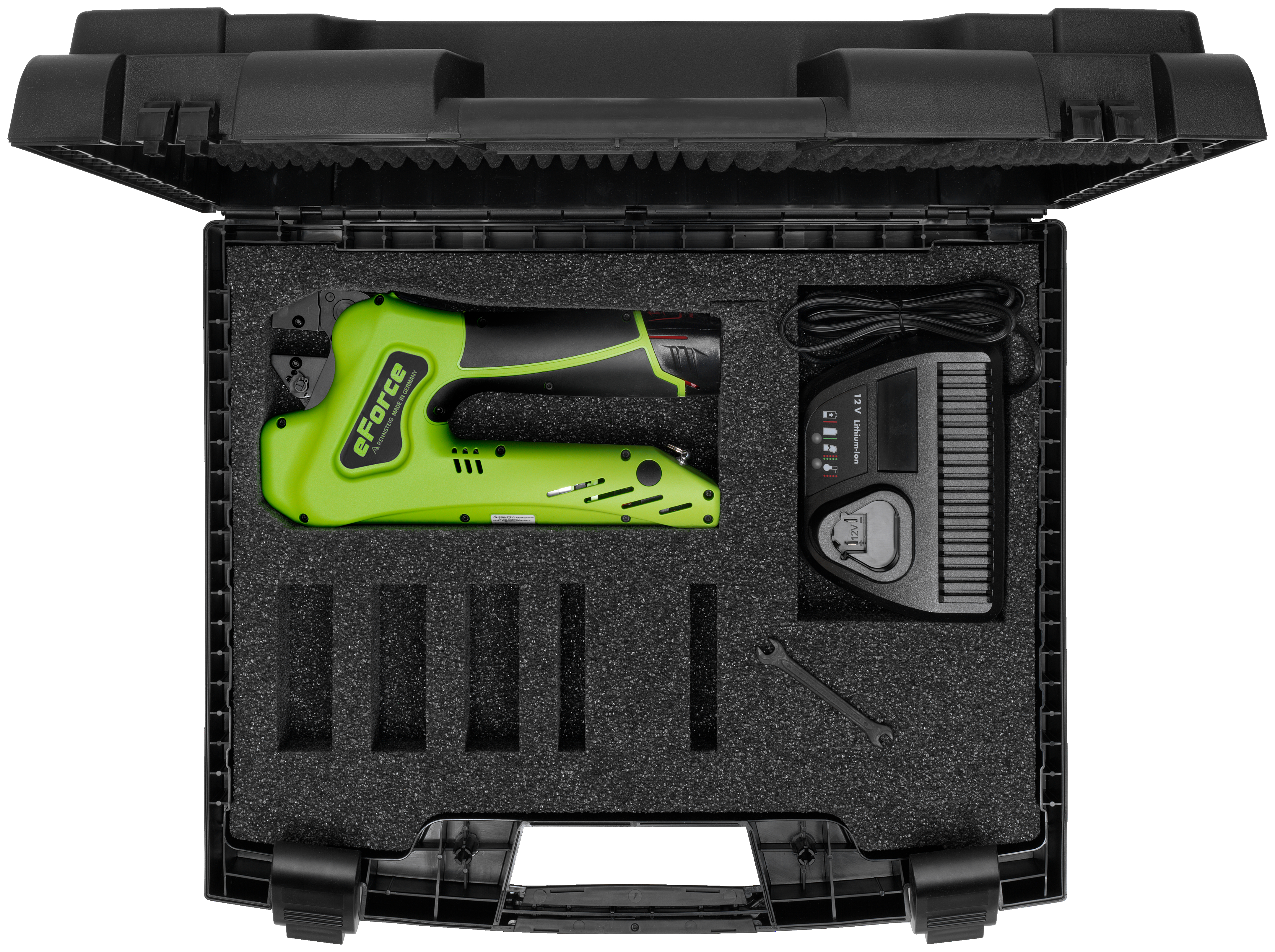 Battery Powered Crimping Tool in Portable Plastic Case